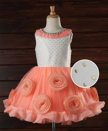Enfance Party Wear Dress With Flowers Applique - Peach