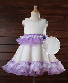Enfance Flared Netted Party Dress- Purple