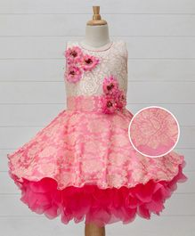 Enfance Brocade Dress With Flower Applique - Pink