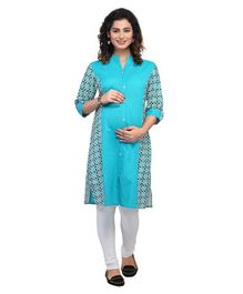 Kriti Three Fourth Sleeves Printed Maternity Nursing Kurti -  Blue