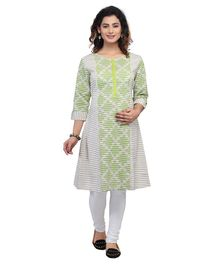 Kriti Three Fourth Sleeves Maternity Kurta - Green