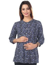 Kriti Short Sleeves Printed Maternity Nursing Top  - Blue