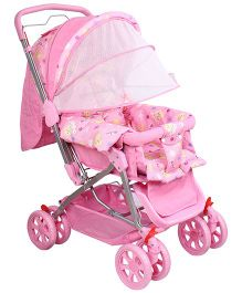 Fab N Funky Pram With Foldable Canopy - Pink
