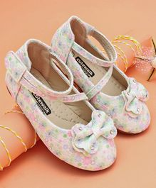 Cutewalk by Babyhug Belly Shoes Floral Print & Bow Detail - White
