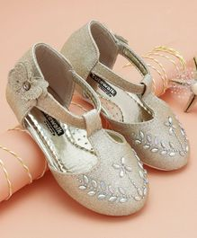 Cute Walk by Babyhug Party Wear Belly Shoes Studded Floral Design - Golden