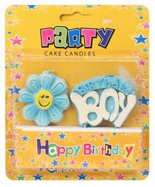 B Vishal Fancy Birthday Boy Candle - Blue White
