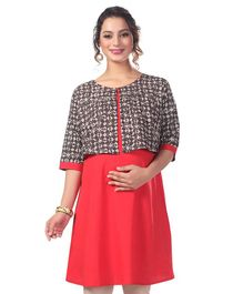 Kriti Three Fourth Sleeves Maternity Dress - Coral