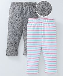 Babyoye Full Length Leggings Stripes & Bottle Print Pack of 2 - Grey Multicolour