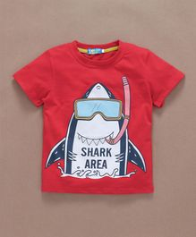 Lolly Kids Shark Printed T-Shirt - Red