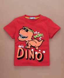 Lolly Kids Dino Printed T-Shirt - Red