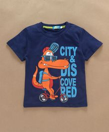 Lolly Kids Dino On Cycle Printed T-Shirt - Blue