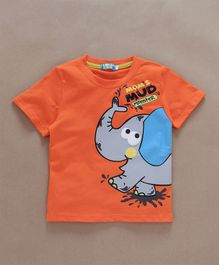 Lolly Kids Elephant Mud Print T-Shirt - Orange