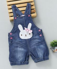 Baby Pep Rabbit Face Applique Denim Dungaree - Blue