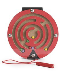 Alpaks Wooden Magnetic Maze Beetle - Red