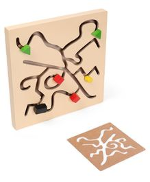 Alpaks Small Wooden Maze Chase Logic Path - Beige