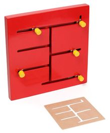 Alpaks Small Wooden Maze Chase Logic Path Pack of 7 Pieces - Red