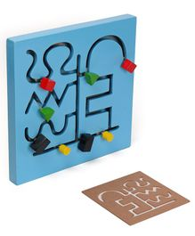 Alpaks Small Wooden Maze Chase Logic Path Pack of 7 Pieces - Blue