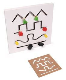 Alpaks Small Wooden Maze Chase Logic Path - White