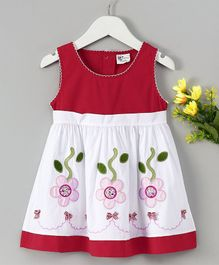 B&G Kids Flower Applique Sleeveless Dress - Red