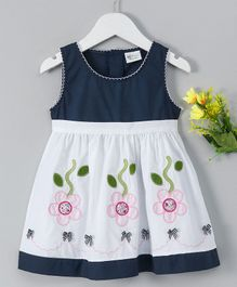 B&G Kids Flower Applique Sleeveless Dress - Blue