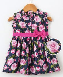 Dew Drops Sleeveless Frock Rose Print - Navy Blue