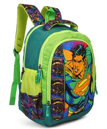 DC Comics School Bag Superman Print Green Blue - 16 inches