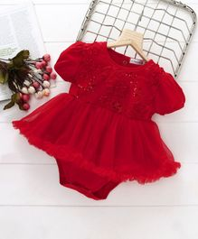 Mark & Mia Ribbon Flowers Onesie Dress - Red