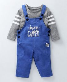 Babyoye Dungaree Style Romper With Tee Happy Camper Print - Royal Blue Grey