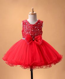 Mark & Mia Sequin Embellished Dress With Bow - Red