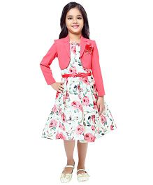 Tiny Baby Floral Print Dress With Jacket - Pink