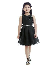 Tiny Baby Flower Applique Dress - Black