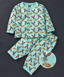 Mom's Love Full Sleeves Night Suit Bugs Bunny Print - Green