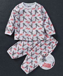 Mom's Love Full Sleeves Night Suit Bug Bunny Print - Grey