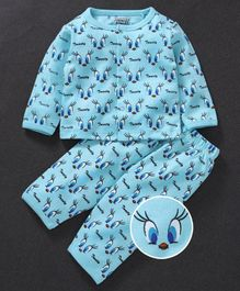 Mom's Love Full Sleeves Night Suit Tweety Print - Blue