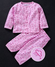 Mom's Love Full Sleeves Night Suit Clouds Print - Pink