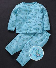 Mom's Love Full Sleeves Night Suit Multi Print - Aqua