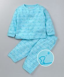 Mom's Love Full Sleeves Night Suit Kitty Print - Aqua
