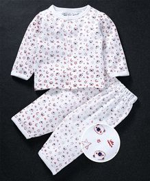 Mom's Love Full Sleeves Night Suit Star Print - White