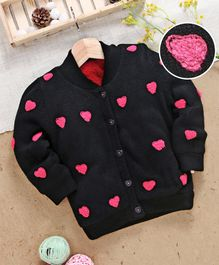 Yellow Apple Full Sleeves Sweater Heart Embroidery - Black