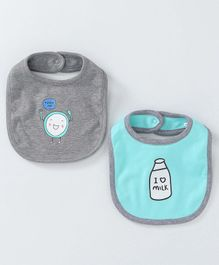 Babyoye Printed Bibs Pack of 2 - Mint Green Grey