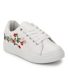 Minni Tc Embroidered Lace-Up Sneakers - White