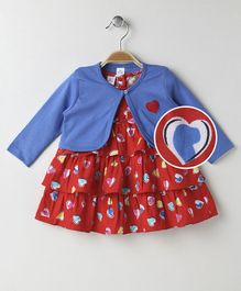 Olio Kids Cap Sleeves Layered Frock With Shrug Hearts Print - Blue Red