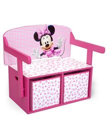 Disney Minnie Mouse Convertible Wooden Bench Cum Storage Box - Light Pink
