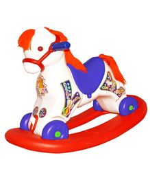 Bluday Ultima 2 In 1 Rocking Horse And Ride On With Music - White & Blue