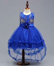 Pre Order - Dells World Layered Netted Dress With Applique Flower - Blue