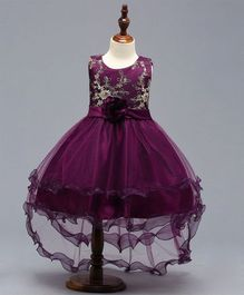 Pre Order - Dells World Layered Netted Dress With Applique Flower - Purple