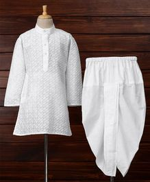 Babyhug Full Sleeves Embroidered Kurta & Dhoti Set - White