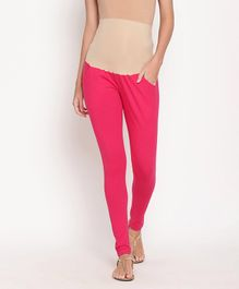 Kriti Leggings With Attached Tummy Hug & Pockets - Fuchsia