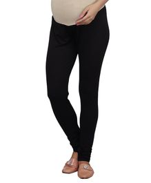 Kriti Full Length Maternity Knitted Chudidar With Tummy Hug - Black