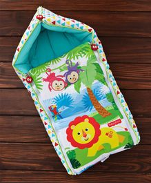 Fisher Price 3 in 1 Baby Carry Nest Monkey & Lion Print - Blue
